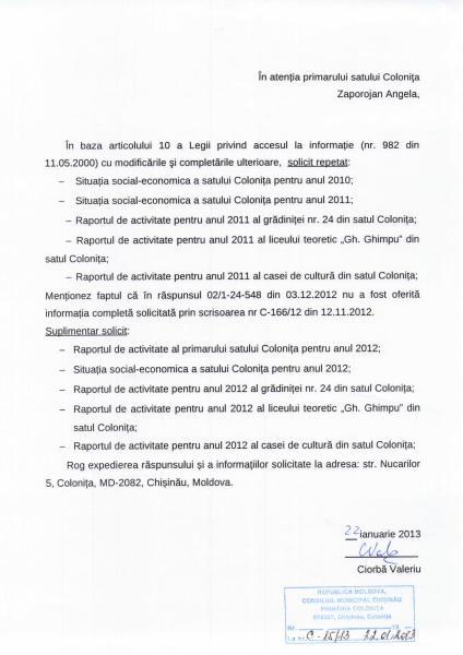 Primăria Colonița NU DISPUNE de documente publice: situația social-economică a satului Colonița pentru anii 2010-2011