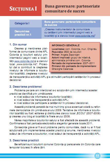 """www.colonita.md (.eu) – cea mai bună practică din municipiul Chișinău la categoria """"Buna guvernare: parteneriate comunitare de succes"""""""