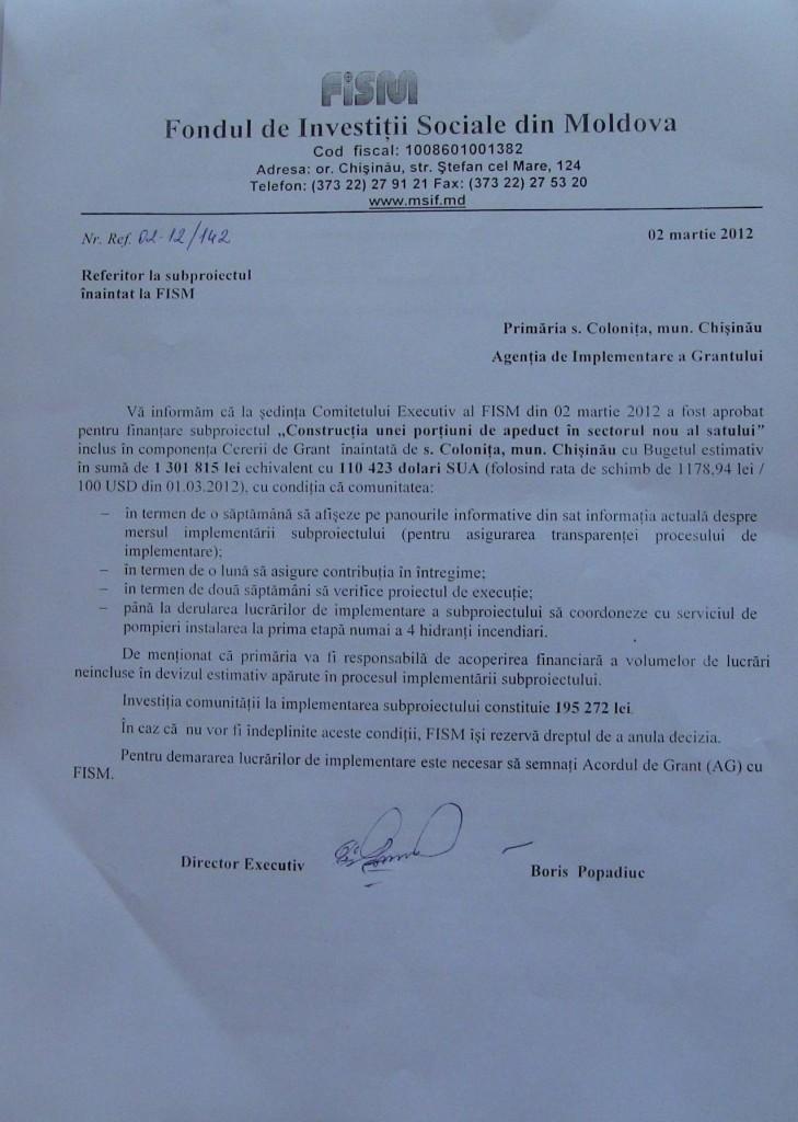 [FISM] A fost aprobat proiectul de construcție a apeductului în sectorul nou al satului